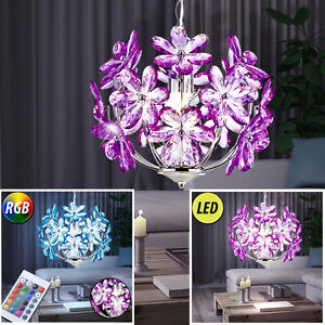 LED-Plafonnier-suspendu-Fleurs-Lampe-RGB-telecommande-intensite-variable-cuisine