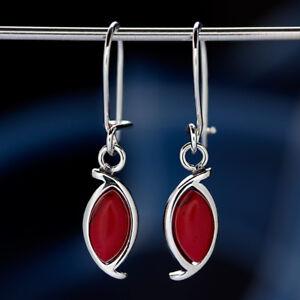 Koralle-Silber-925-Ohrringe-Damen-Schmuck-Sterlingsilber-H0597