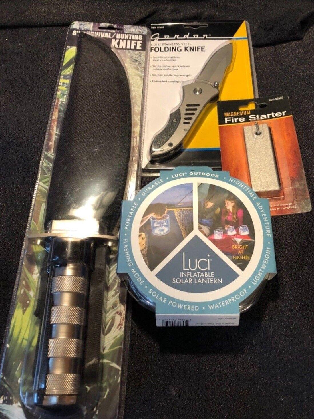 NEW Survival Hunting Knife-Folding Knife-Inflatable Sonar Lantern-Firestarter