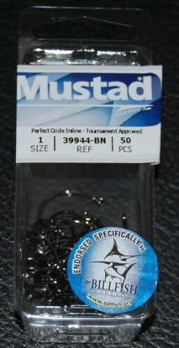 50 Mustad 39944BN-01 Classic In-Line Demon Perfect Circle Hooks Size 1