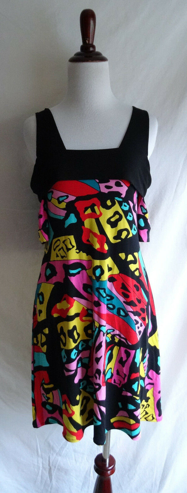 Eva Varro Small Artsy Abstract Jersey Knit Farbeful Print Cut Out Shoudler Dress