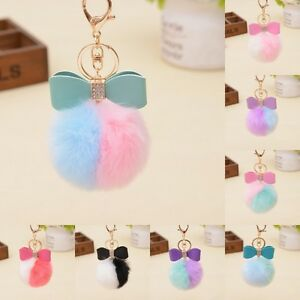 Rabbit-Fur-Pom-pom-Key-Chain-Bag-Charm-Fluffy-Puff-Ball-Bow-Key-Ring-Pendant