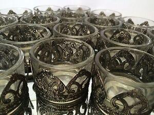 Glass Tea Light Holders Antique Metal Hearts Christmas Wedding Table Decoration