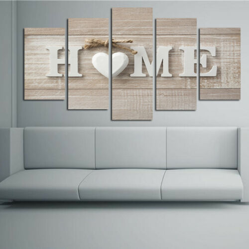 5 Pannels Love Heart Home Canvas Print Painting Pictures Wall Decor Unframed