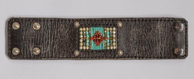 Chili Rose Beadz Leather and Bead Bracelet by Adonnah Langer-  PRICE  REDUCED!