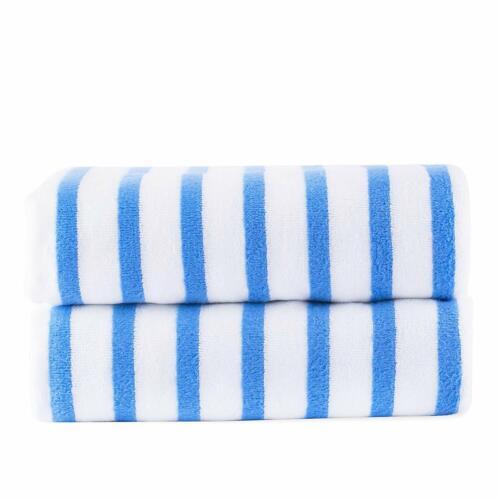 6 Pack Beach Towel Cabana Striped Blue Wholesale Lot JML Towels
