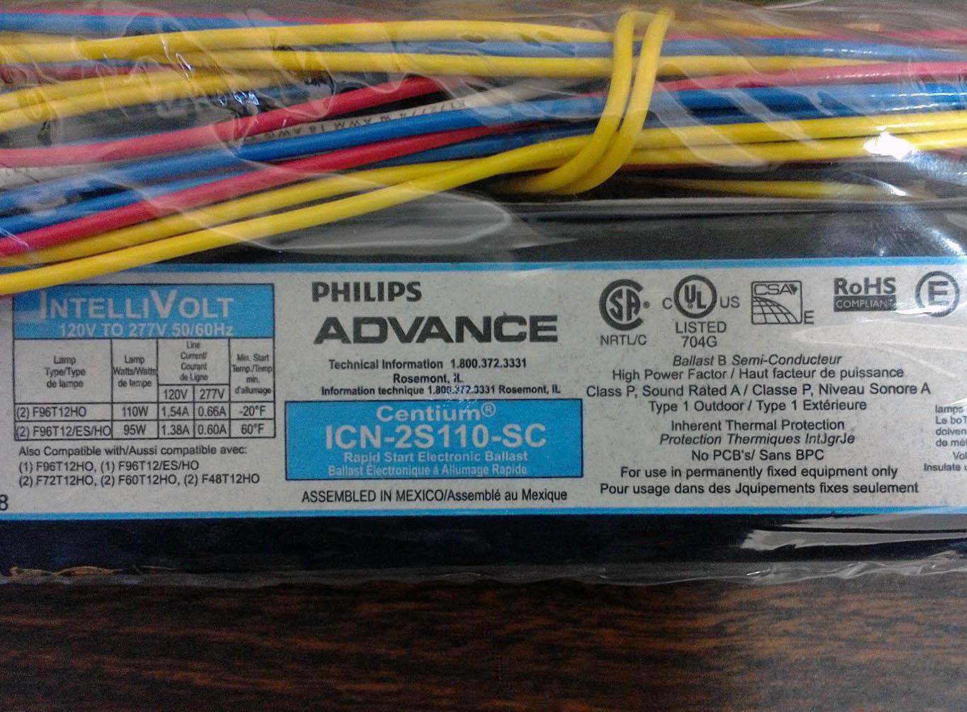 Philips Advance Rapid Start Ballast Icn 2s110 Sc Ebay
