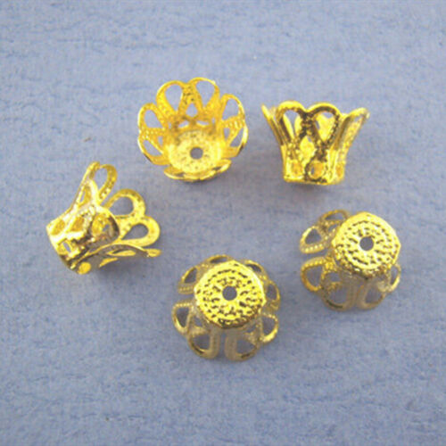 200 End Bead Cap Gold Plated Ornate Filigree Bell Jewelry DIY Making Finding 9mm