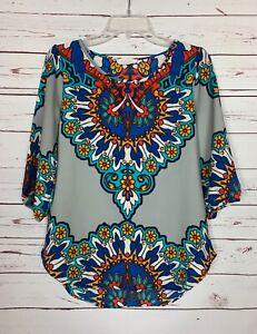 Peach-Love-California-Boutique-Women-039-s-S-Small-Gray-Boho-Fall-Top-Blouse-Shirt