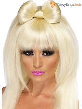 Ladies Pop Sensation Wig + Bow Adult Gaga Long Blonde Fancy Dress Costume