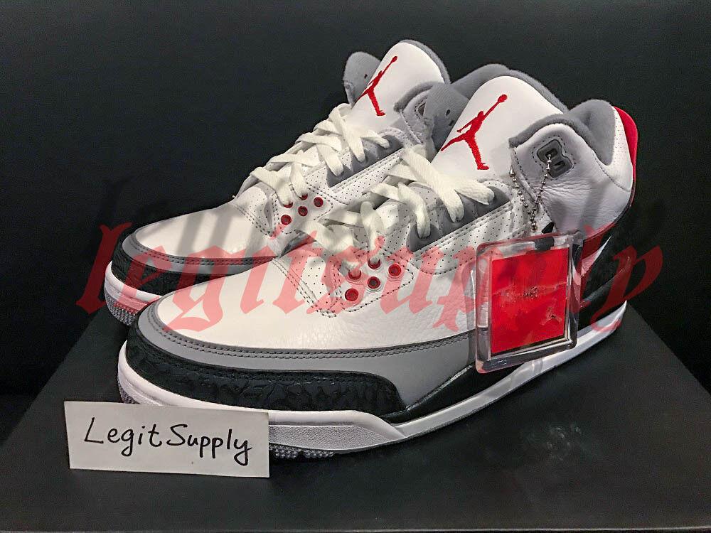 SHIP NOW Nike Air Jordan 3 Retro Tinker Hatfield NRG 8-13 White Red AQ3835-160