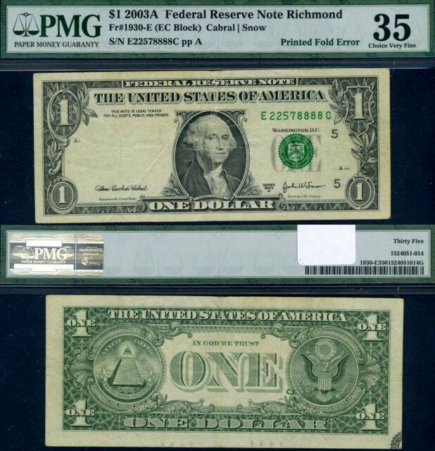 FR. 1930 E $1 2003-A Federal Reserve Note Richmond Large Choice PMG VF35