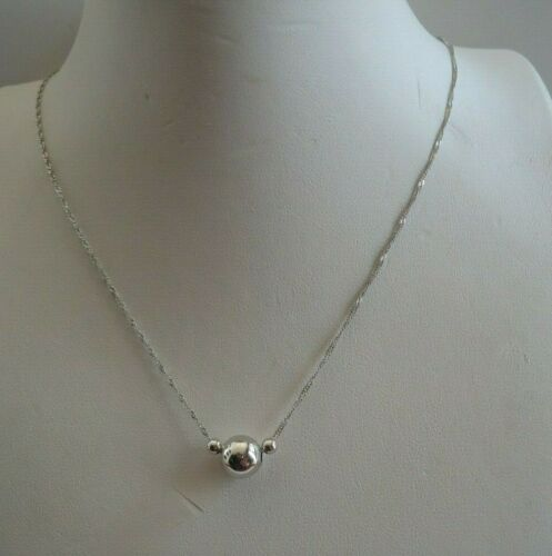 """3 Perles Singapour Chaîne Collier Pendentif//Argent Sterling 925//16-18/"""""""