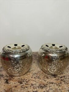 Vintage Holiday Imports Tarnish Protected Silverplate Candle Holders Cups