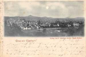 Raritaet-Foto-AK-1897-Gruss-aus-Goeppingen-Teilansicht-Stadtansicht-Mondschein