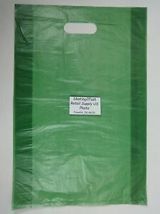 100-Qty-12-x-3-x-18-Green-High-Density-Plastic-Merchandise-Bag-w-Handle