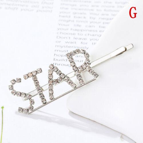 Women/'s Girls Rhinestone Hair Clip Crystal Letters Hair Pin Slide Grips CL