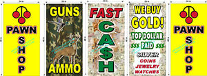 PERFORATED-WINDOW-DECAL-PAWN-SHOP-CASH-FOR-GOLD-AMMO-LOT-OF-5-2-039-X-4-039-VERTICAL
