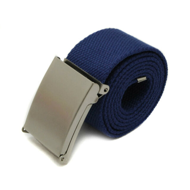 Fashion Mens Boys Plain Webbing Cotton Canvas Metal Buckle Belt 12Candy Colors