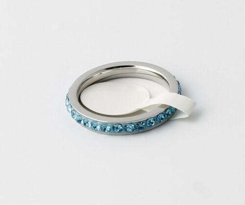 Acier Inoxydable Pierre de naissance l/'éternité Empilable anneaux avec 3 mm large bande