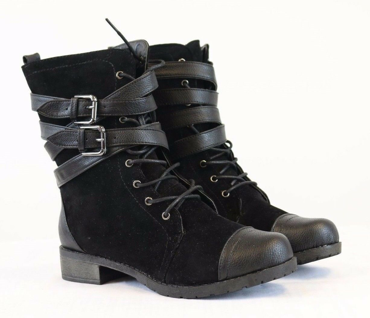 Bamboo Women's Black Combat Boots Buckle Strap Lace Up Low Heel Boots