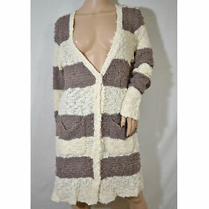 f6ca1ef8c Image is loading NEW-FREE-PEOPLE-Beige-Brown-Striped-Boucle-Knit-