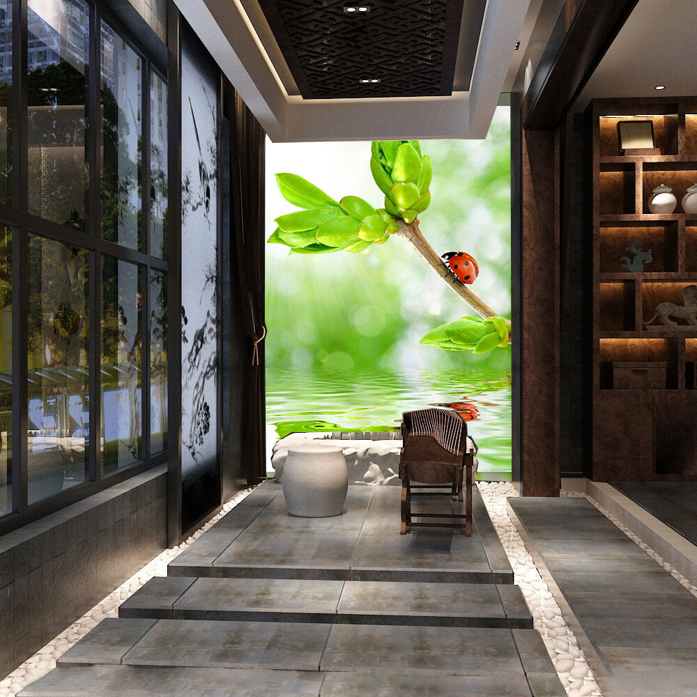 3D Pousses Vert 4 Photo Papier Peint en Autocollant Murale Plafond Chambre Art