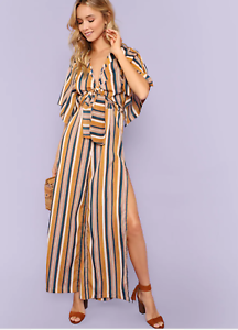 198bc6b17d0 Tie Front Cut Out Slit leg yellow Striped Jumpsuit Romper Small S ...