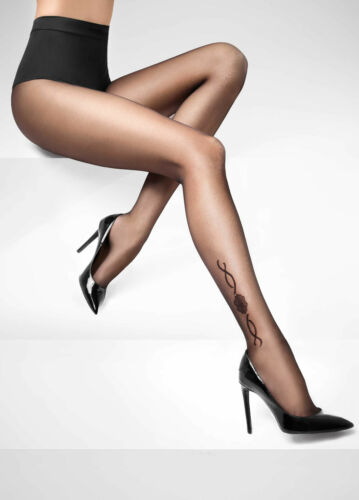 Fantasy Black Tatoo anckle Effect luxury women evening party Tights Hosiery T91