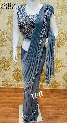 Ruffel  silk saree beautiful tone sequence work lace border with double layer
