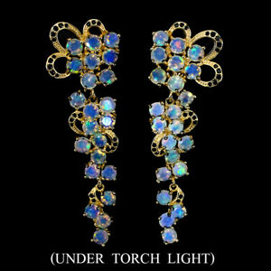 Unheated-Round-Fire-Opal-3-5mm-Black-Spinel-Natural-925-Sterling-Silver-Earrings
