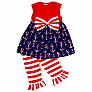 c7fe29159c05 Toddler Kids Girls Dress Tank Top Fourth of July Outfit Set Clothes ...
