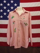 Mili Designs Shirt Long Sleeve Pink/White Summer  Golf Applique Women's Size M