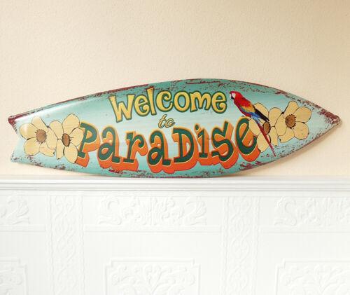 Metallschild Blechschild Welcome Paradise Antik Look Vintage geprägt 17x60cm