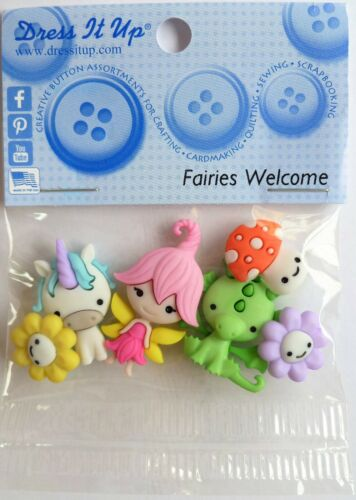 Dress It Up Buttons *FAIRIES WELCOME* 6 Pieces Flowers Unicorn Dragon Sewing