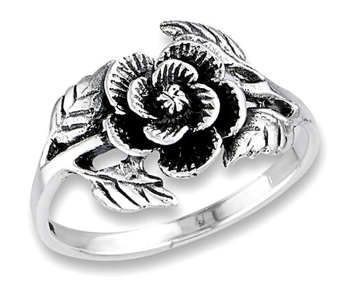 Sterling Silver Oxidized Rose Ring Size 6,7,8,9