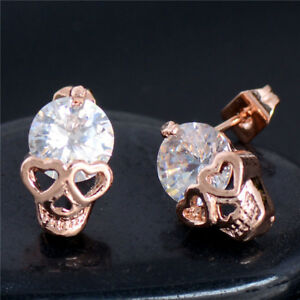 Image Is Loading Gold Plated Skull Cz Crystal Las Stud Earrings
