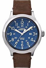 Timex Expedition Scout 43 Men's Wristwatch with Brown Strap and Blue Dial - TW4B064009J