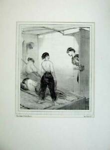 Original-Old-Antique-Print-1843-French-Women-Army-Sier-Uniform-Sleeping-Bed-War