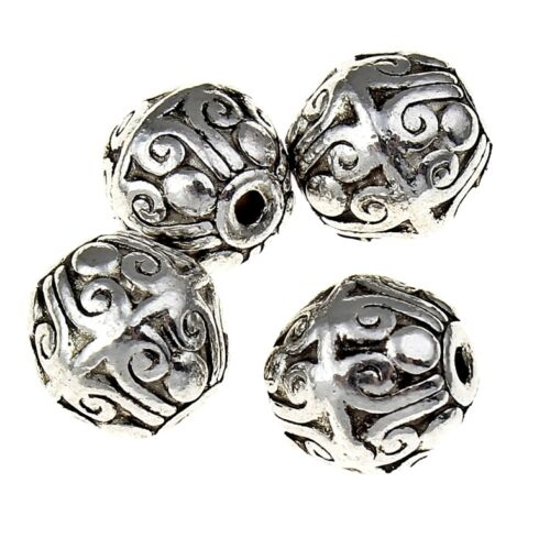 Decorada metal perlas balas spacer 9mm 10stk plateado Best m534