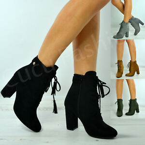 New Womens Ankle Boots Ladies High Block Heel Lace Up Fringe Shoes ... 41d1b7cf9