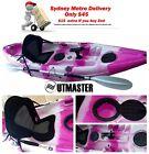 2.95m Single Fishing Kayak Sit on Rod Holders Canoe Pink Camo Paddle Seat
