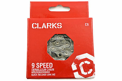 "CLARKS 9 SPEED C9 NARROW CHAIN MTB/ROAD/HYBRID 1/2 x 1 1/128""116 LINK C9 50% OFF"