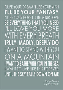 Savage garden truly madly deeply lyrics wedding word wall art typography ebay I want you savage garden lyrics
