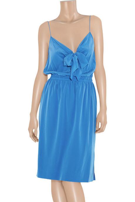 100% DKNY by damen KARAN bright Blau Blau Blau SILK SLIP DRESS large uk12  14 eu40 42 bnwt 36f4e6