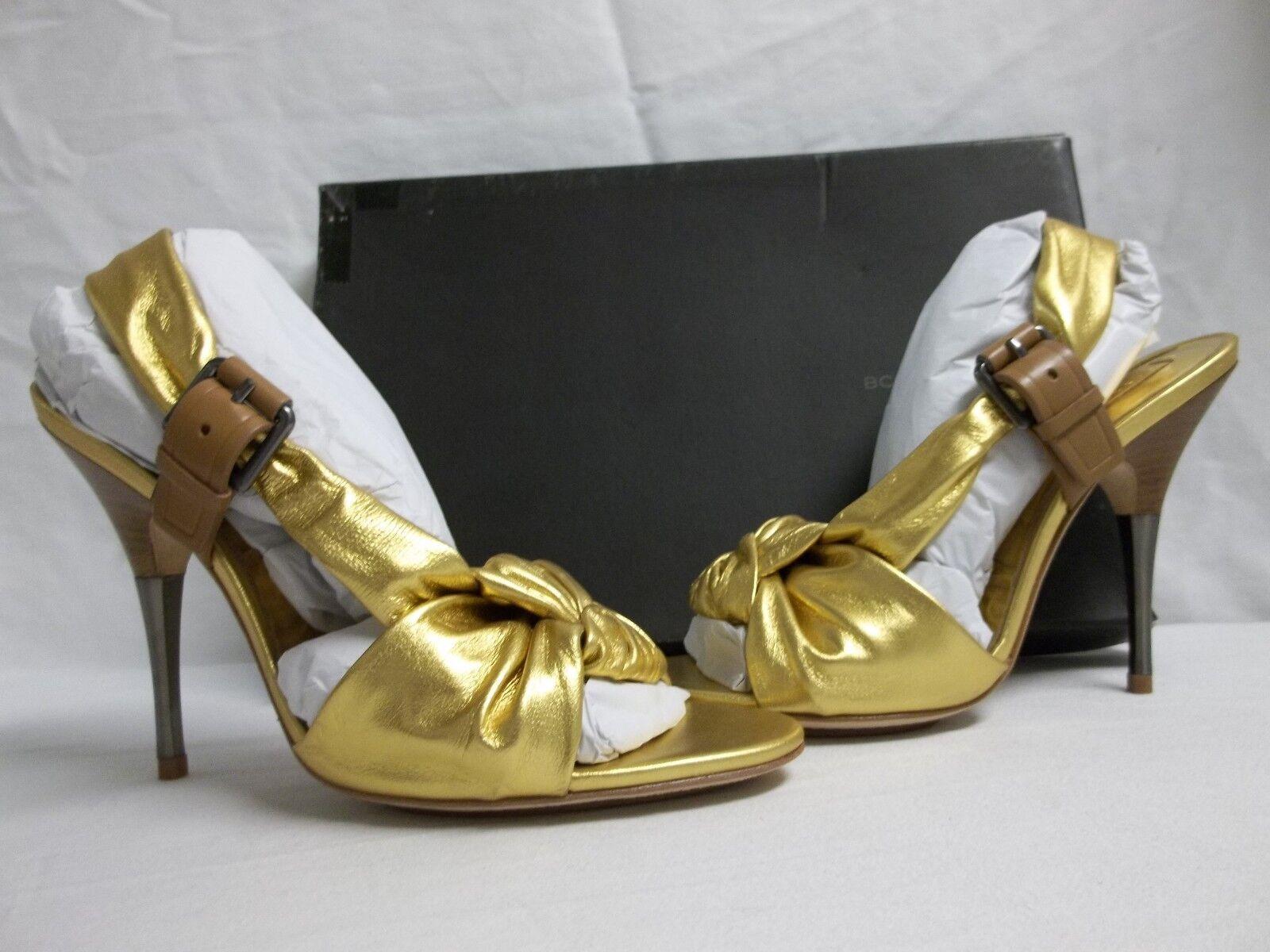 BCBG Max Azria Sz 8 M Chelsey Gold Sand Leder Open Toe Heels NEU Damenschuhe Schuhes