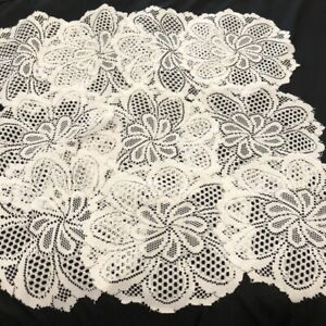 """Vintage Crocheted Lace Doilies Matching Set of 10 White 12"""" Rd Floral Pattern"""