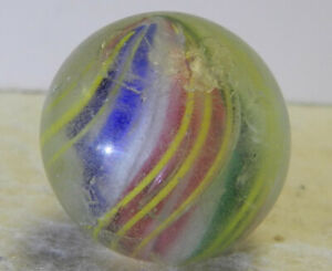 #12887m Vintage German Handmade Solid Core Swirl Marble .87 Inches