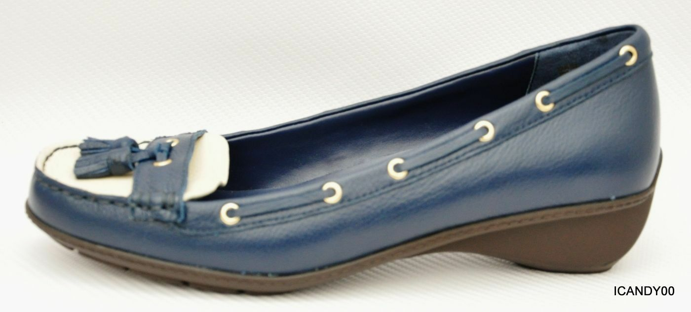 New Lauren Ralph Lauren GAEL Leather Loafer Flat Wedge Moc shoes bluee Off-White 9