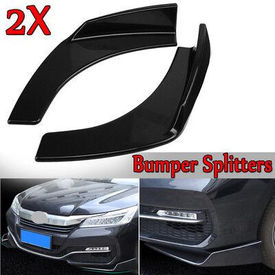 Black Universal Front Bumper Lip Splitter Deflector Spoiler Scratch Resistant Bumper Deflector Protection Canard Lip Winglets Canards Black Carbon Fiber